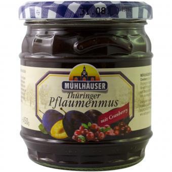 Mühlhäuser Thüringer Pflaumenmus (gewürzt) mit Cranberry 450 g